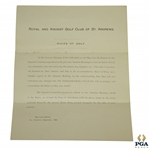 1891 Royal & Ancient St. Andrews Rules for the Game of Golf Revision Letter by The Special Committee