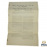 1891 Royal & Ancient St. Andrews Draft Rules for the Game of Golf Letter by The Special Committee