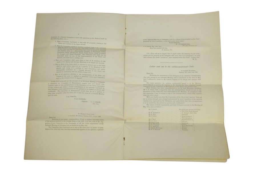 1896 Royal & Ancient St. Andrews Correspondence Copy Proposed Formation of Special Rules Committee