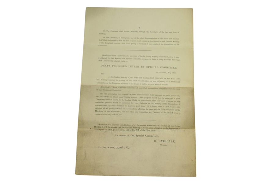 1897 Royal & Ancient St. Andrews Letter on Proposed Special Committee Relating to Rules