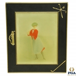 Lady Golfer Hand Colored Picture in Time-Period Golf Themed Frame