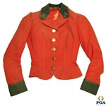 Time-Period British Style Red Golf Club Waistcoat w/ M Stitching on Collar - Ladies Cut
