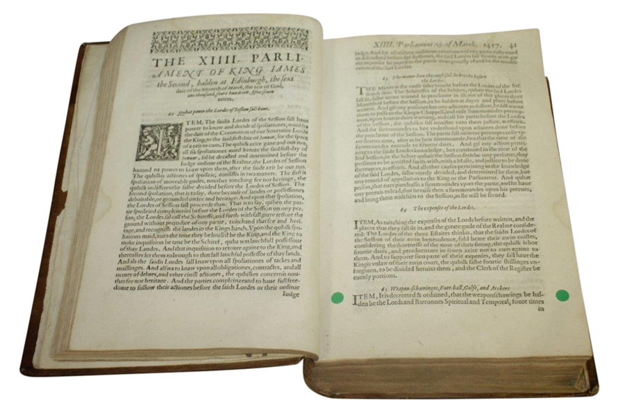 1621 Acts of Parliament of Scotland Book - 1st Mention of Golf in Scotland - Banned!