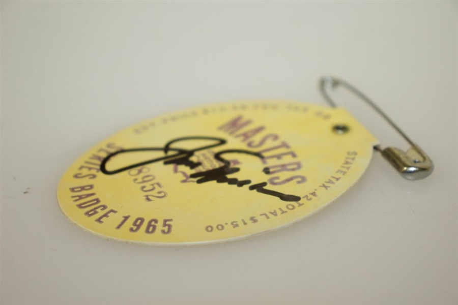 Jack Nicklaus Signed 1965 Masters Series Badge #8952 JSA ALOA