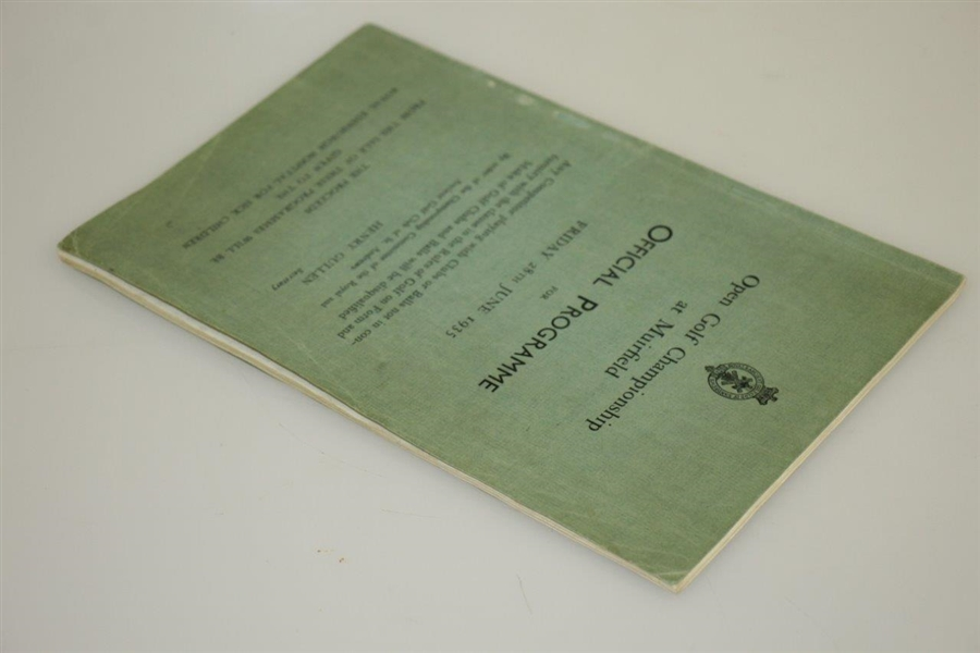 1935 Open Championship at Muirfield Official Programme - Alf Perry Winner