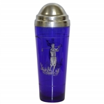 1920s Colbalt Blue Glass Cocktail Shaker w/ Silver Overlay Golfer