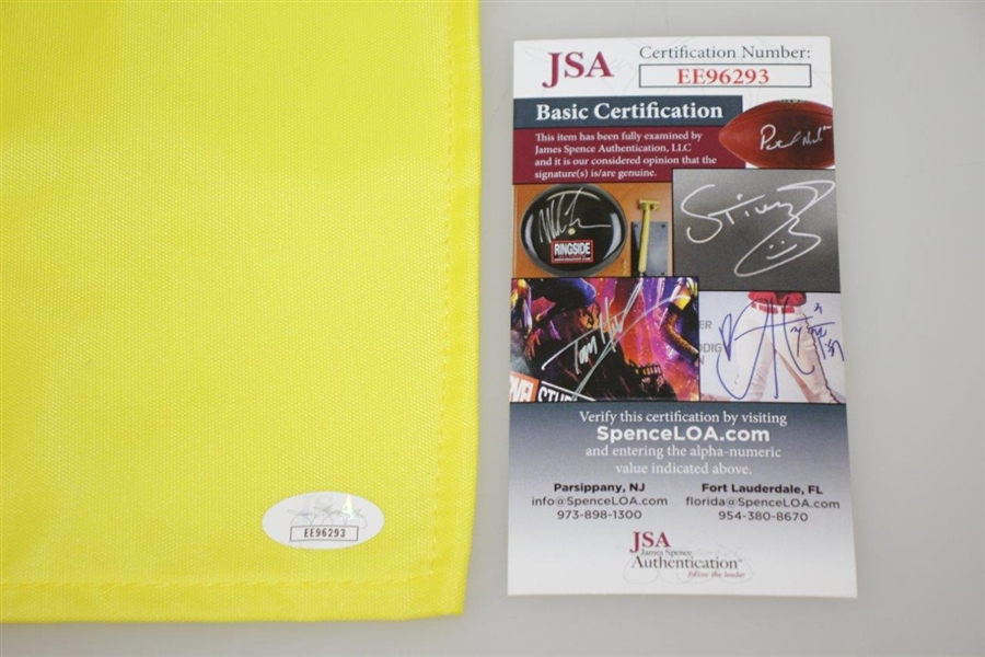 Nick Faldo Signed 2011 Masters Embroidered Flag with Years Won Notation JSA #EE96293