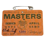 Charles Coody Signed 1971 Masters Tournament Badge #8309 JSA #EE96306