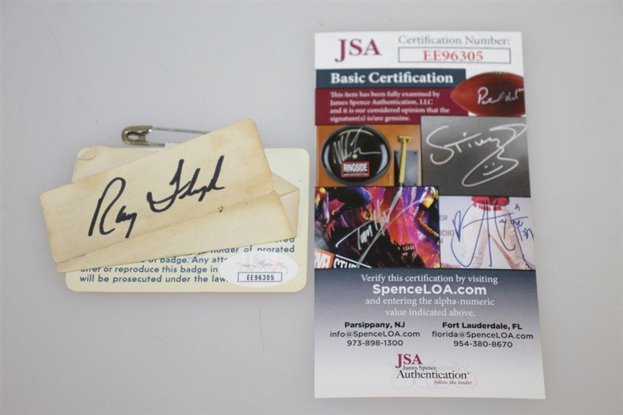 Ray Floyd Signed 1976 Masters Tournament Badge #25426 JSA #EE96305