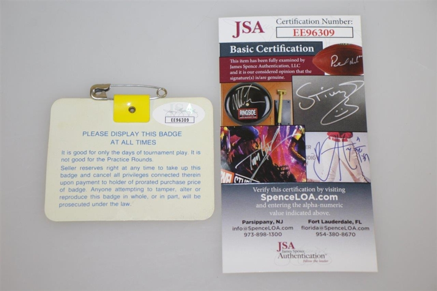 Larry Mize Signed 1987 Masters Tournament Badge #X01418 JSA #EE96309