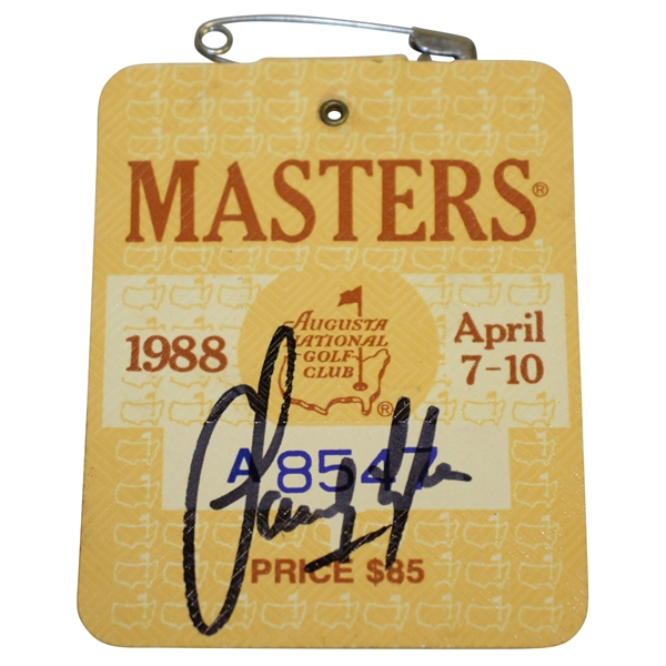 Sandy Lyle Signed 1988 Masters Tournament Badge #A8547 JSA #EE96310