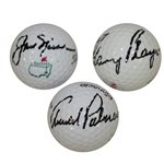 Arnold Palmer, Jack Nicklaus, & Gary Player Big 3 Signed Golf Balls - All JSA Certifications