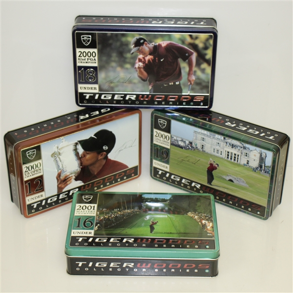 Tiger Woods Nike 'Tiger Slam' Dozen Balls in Tin Collector's Boxes - Set of 4