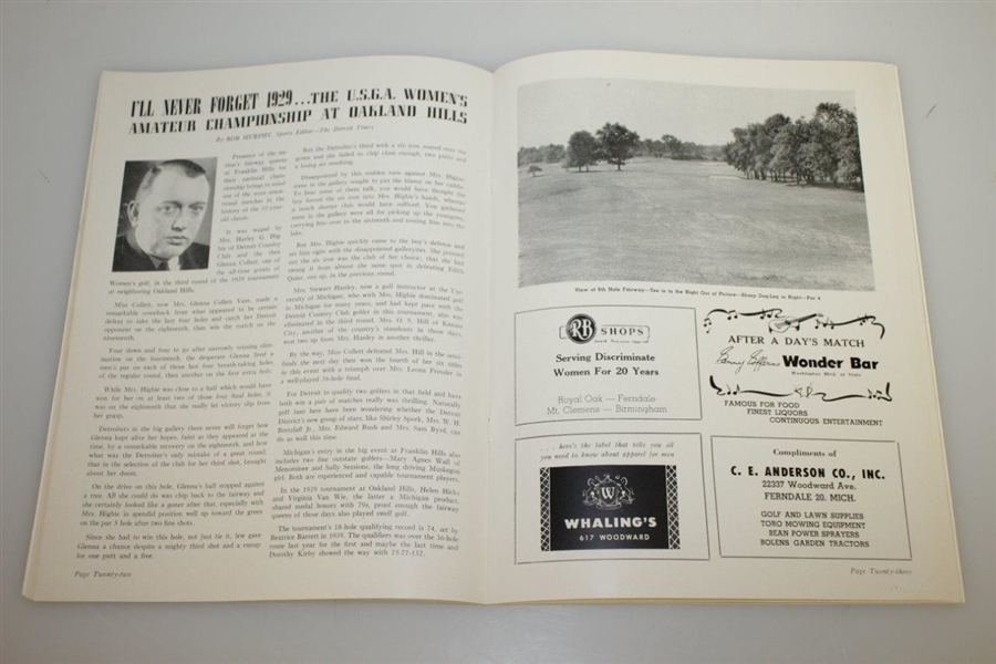1947 US Women's Amateur Championship at Franklin Hills CC Program - Louise Suggs Winner