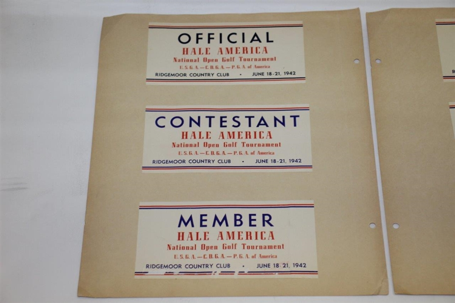 1942 Hale America National (US Open?) Member, Contestant, Press, Employee, & Official Parking Passes