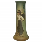 "Weller Dickensware Vase - Female Golfer - 10"" Tall"