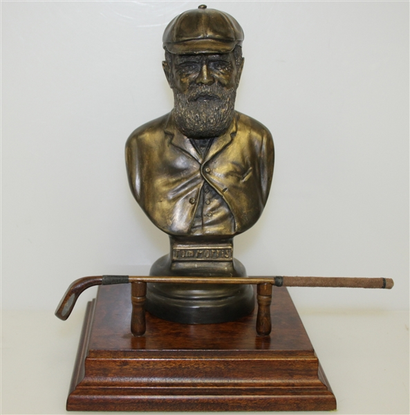 Old Tom Morris of St. Andrews Bust Figurine on Wood Base by Artist Bill Waugh