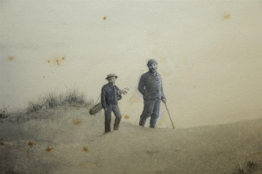 'In The Bunker' Hand Colored Pencil & Charcoal By JC Dollman Circa 1900