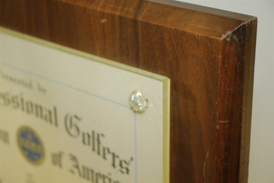 Paul Hahn's 1965 Lifetime Achievement Plaque Award Presented by the PGA Golf Writers