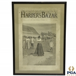 1894 Harpers Bazar Publication Featuring AB Frosts Depiction of Lady Golfer on Cover