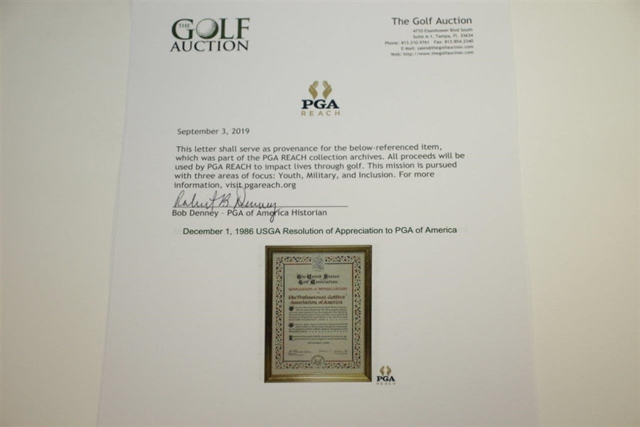 December 1, 1986 USGA Resolution of Appreciation to PGA of America