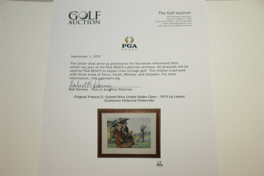 Original 'Francis D. Ouimet Wins United States Open - 1913' by Leland Gustavson Historical Watercolor