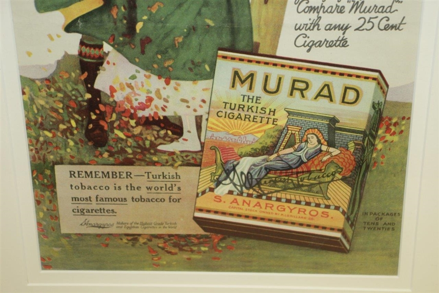 Early 1900's 'Murad - The Turkish Cigarette' Lithograph Advertisement w/ Golfer Lighting Cigarette