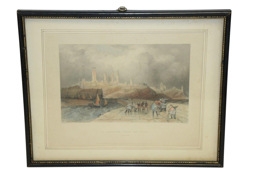 1837 'St Andrews From the Pier' Hand Colored Engraving