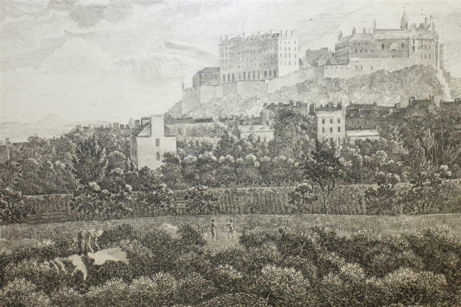 'Edinburgh Castle from the Links SW' Engraving by Robertson Sculpeit