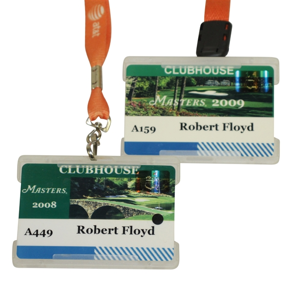 2008 & 2009 Masters Tournament Clubhouse Credentials Badges