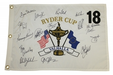Ray Floyds 2008 Ryder Cup Valhalla Team USA Signed Embroidered Flag - Vice Captain JSA ALOA