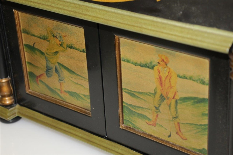Ornate Old-Time Golf Themed Gold Trimmed Trinket / Jewelry Presentation Box