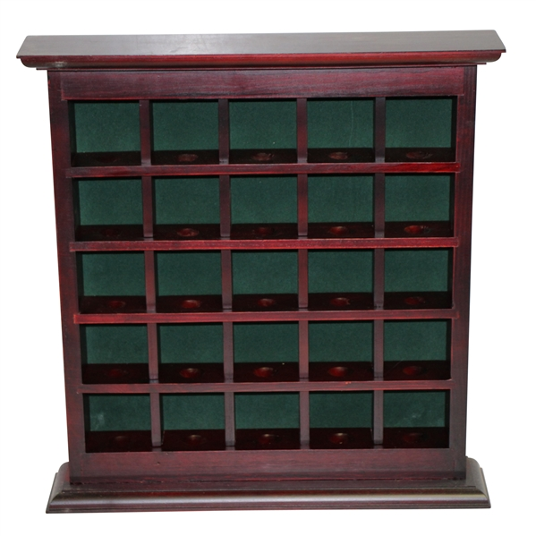 Cherry Wood Golf Ball Display w/ Green Felt Background - Holds 25