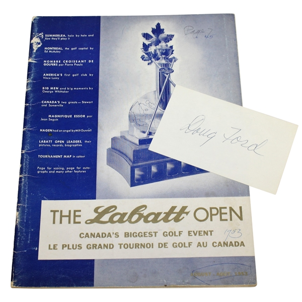 1953 The Labatt Open Tournament Program with Doug Ford Signed 3x5 Card JSA ALOA