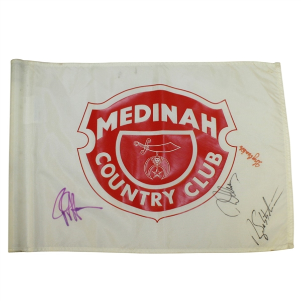 Multi-Signed Medinah Country Club Course Flown Red/White Screen Flag JSA ALOA