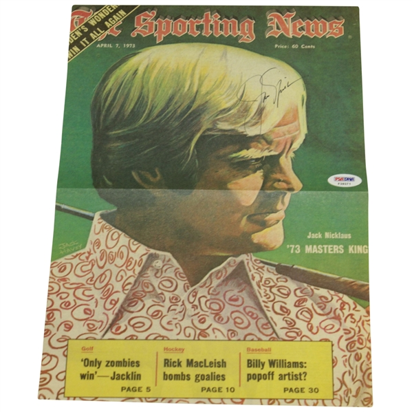 Jack Nicklaus Signed 1973 Oversize 'The Sporting News' Page/Poster PSA/DNA #F39371
