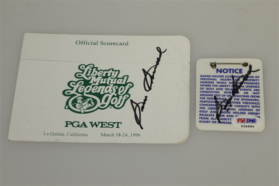 Sam Snead Signed Unused Legends of Golf Scorecard & Badge PSA/DNA #P34684