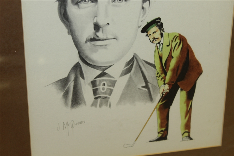Young Tom Morris Head Sketch and Golf Stance by Jim McQueen