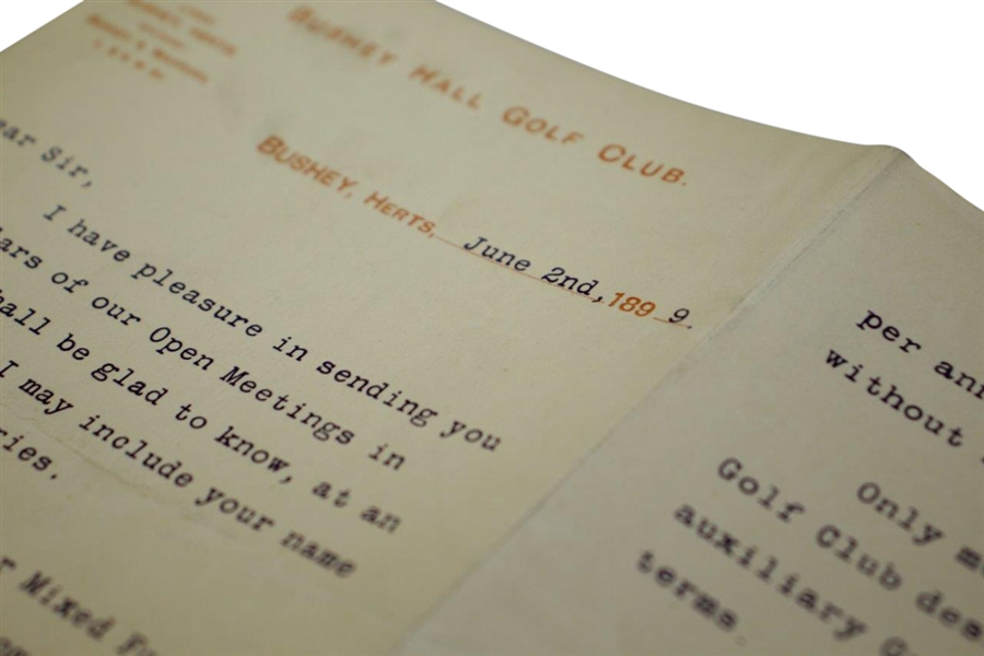 1899 Bushey Hall Golf Club Open Meetings to Entrants Letter - June 2nd