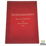 1895 North Berwick New Club Rules & Regulations and List of Members Booklet