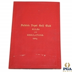 1904 Falkirk Tryst Golf Club Rules & Regulations Booklet