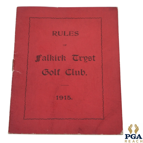 1915 Falkirk Tryst Golf Club Rules Booklet
