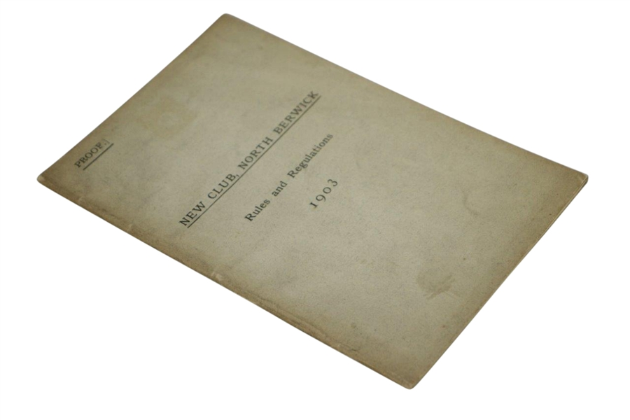 1903 North Berwick New Club Rules and Regulations Booklet - Proof Copy