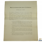 1897 Royal & Ancient St. Andrews Report by Rules Committee