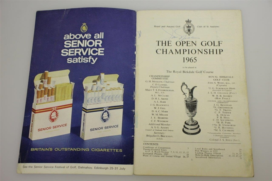 Jack Nicklaus Signed 1965 Open Championship at Royal Birkdale Program w/ Draw Sheet JSA ALOA