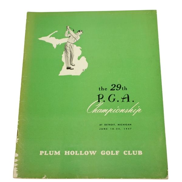 1947 PGA Championship at Plum Hollow Program - Jim Ferrier Win