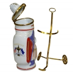 1995 Ryder Cup at Oak Hill Ceramic Limited Ed Golf Bag on Pull Cart - Made in France