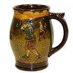 Circa 1930s Royal Doulton Earthenware Mug w/ Ancient Golfer Addressing Ball