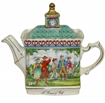 English Sadler Ceramic Hand Painted Tea Pot w/ Golf Scenes & Clock Tower