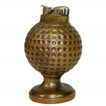 Vintage Bronze Dimple Golf Ball Desk Cigarette Lighter on Base